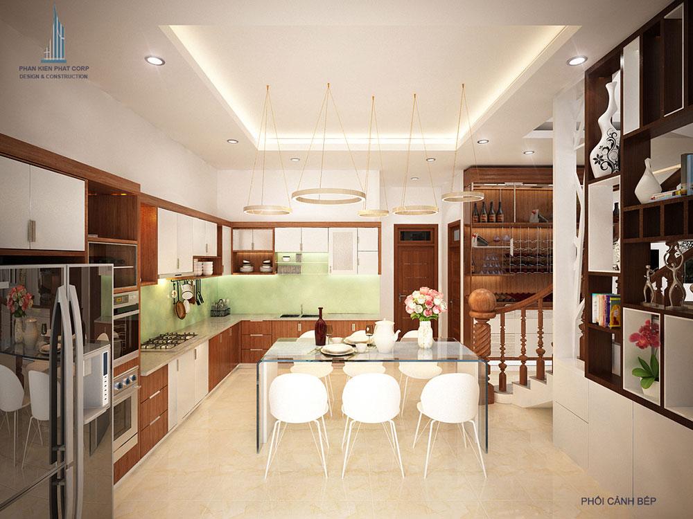 Phối cảnh phòng ăn và bếp biệt thự 3 tầng hiện đại góc nhìn 3
