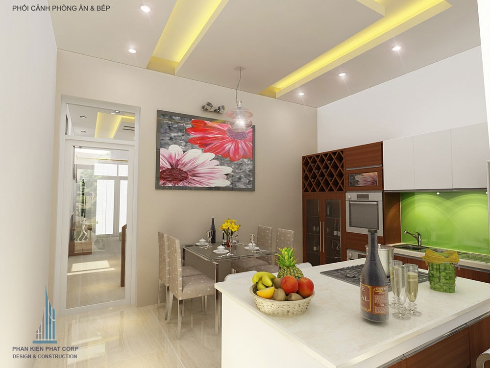 Phối cảnh phòng ăn và bếp góc nhìn 2