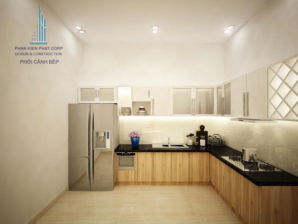 Phối cảnh phòng ăn và bếp nhà phố 3 tầng diện tích 4x12m tại gò vấp góc nhìn 2