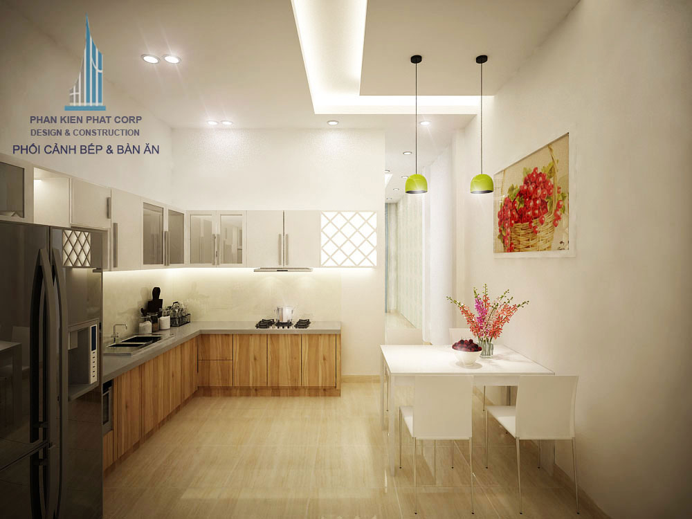 Phối cảnh phòng ăn và bếp nhà phố 3 tầng diện tích 4x12m tại gò vấp góc nhìn 3
