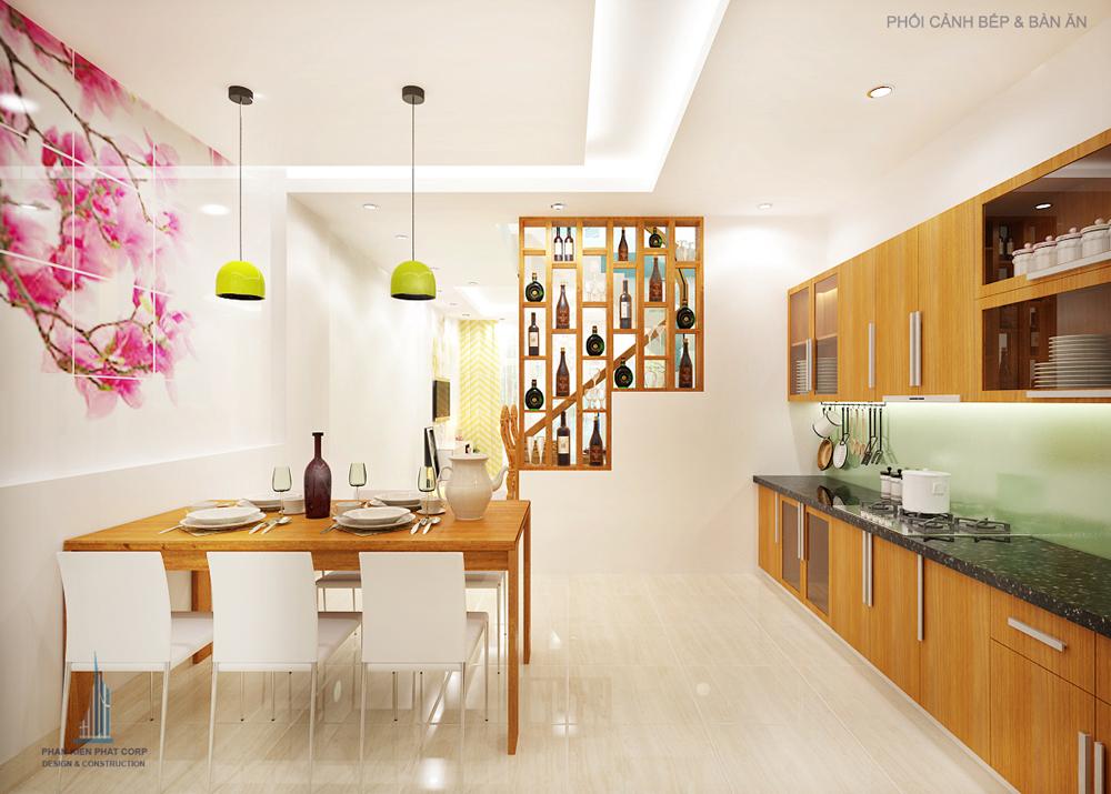 Phối cảnh phòng ăn và bếp nhà phố 4 tầng diện tích 4x14,5m góc nhìn 2