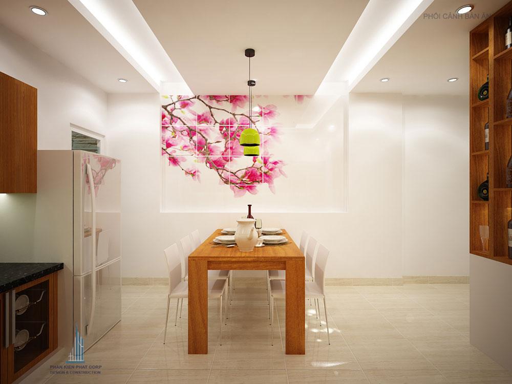 Phối cảnh phòng ăn và bếp nhà phố 4 tầng diện tích 4x14,5m góc nhìn 3