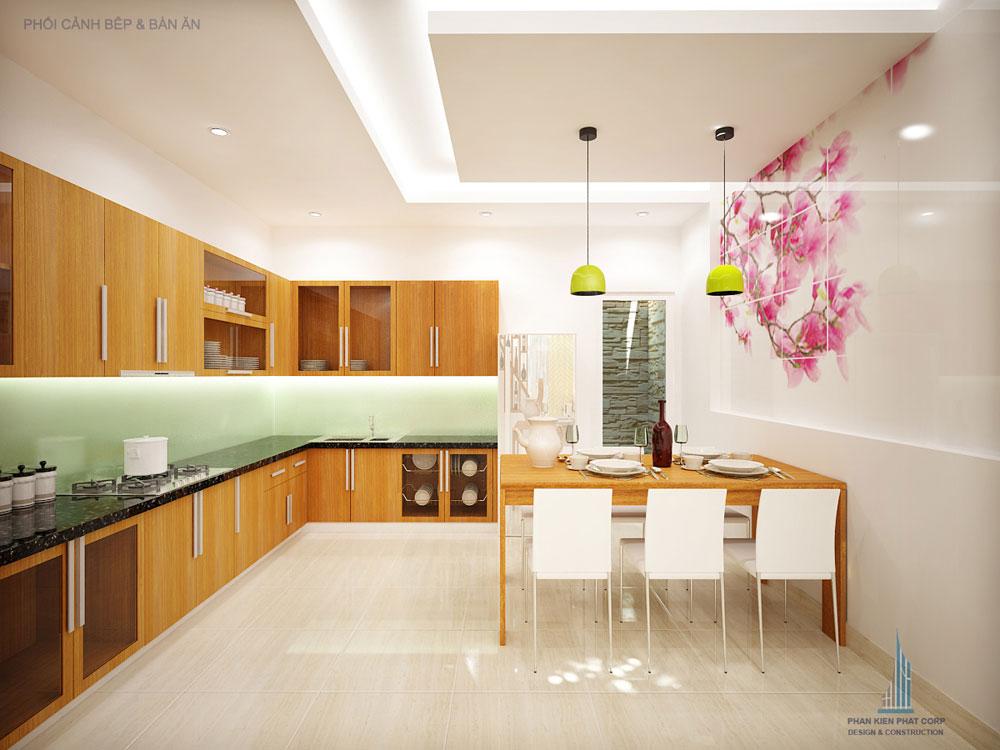 Phối cảnh phòng ăn và bếp nhà phố 4 tầng diện tích 4x14,5m góc nhìn 4