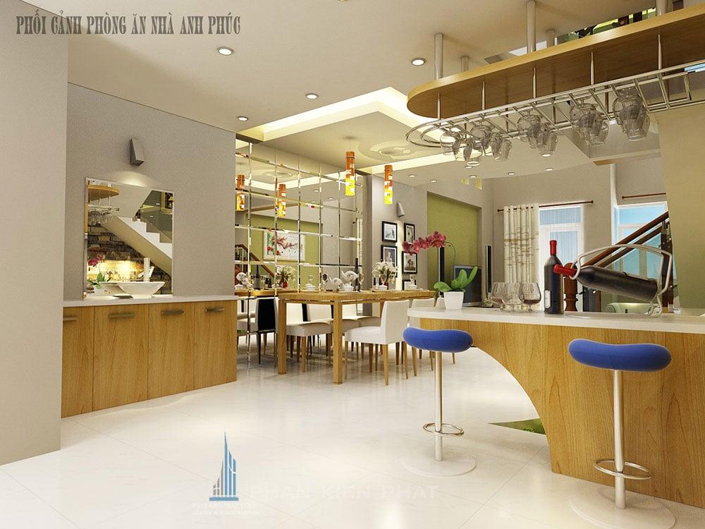 Phối cảnh phòng ăn và quầy bar góc view 1