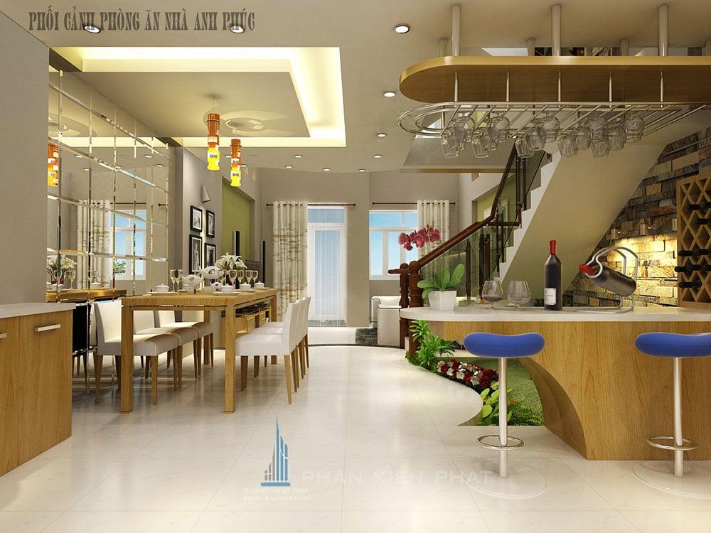 Phối cảnh phòng ăn và quầy bar nhà phố 3 tầng hiện đại 5x16m tại Gò Vấp