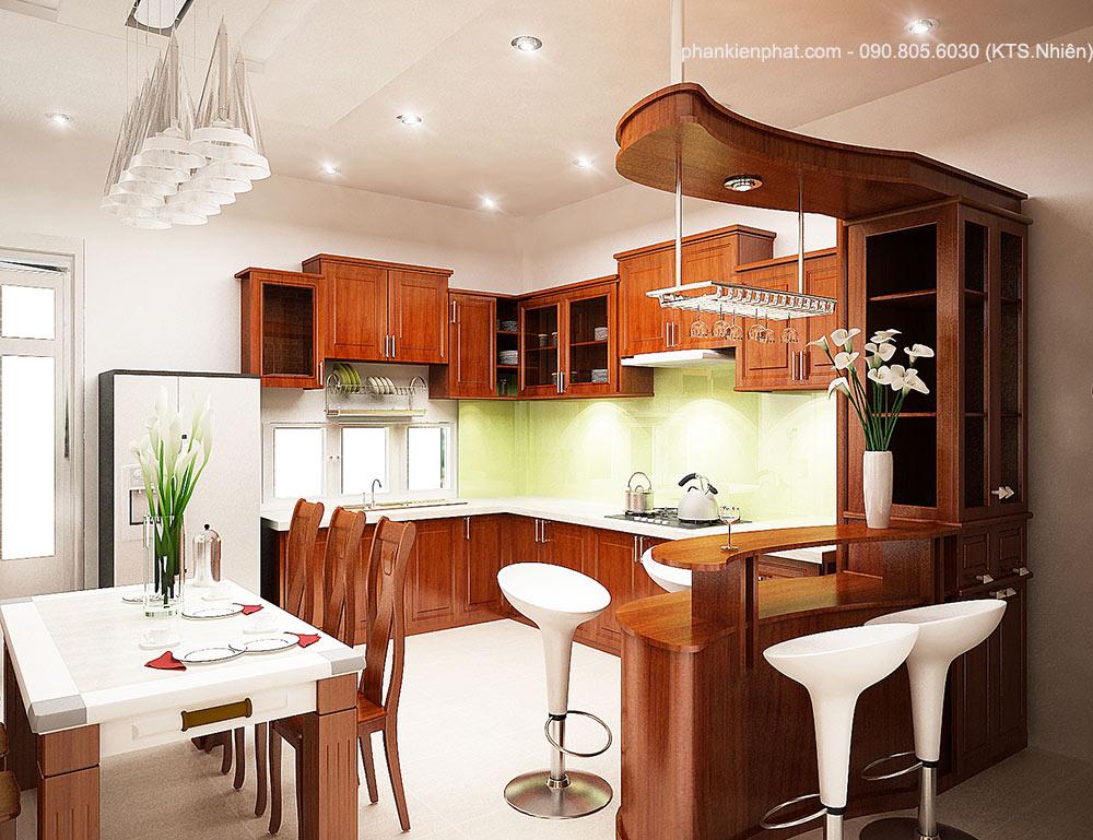 Phối cảnh phòng bếp góc view 1