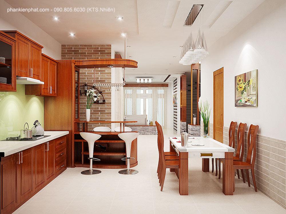 Phối cảnh phòng bếp góc view 2