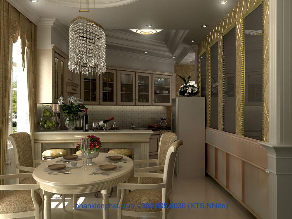 Phối cảnh phòng bếp góc view 3