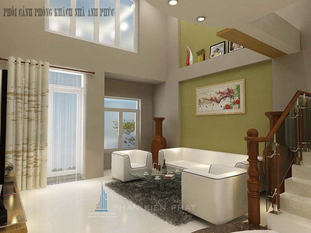 Phối cảnh thiết kế nội thất phòng khách nhà phố 3 tầng góc view 2