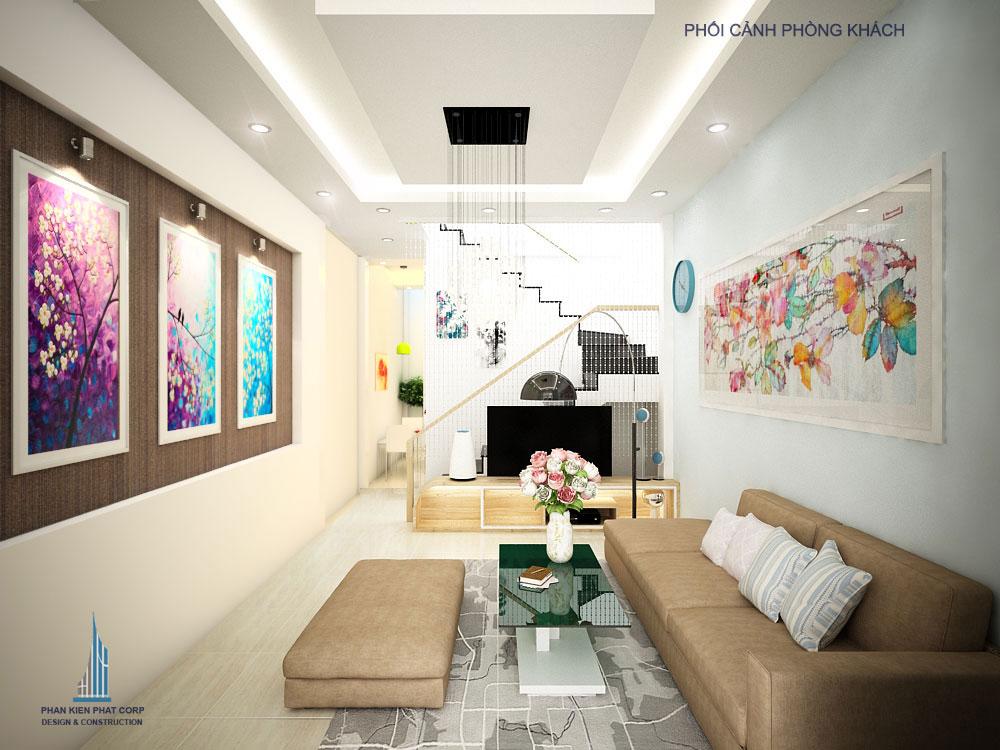 Phối cảnh phòng khách nhà phố 3 tầng diện tích 4x12m tại Gò Vấp