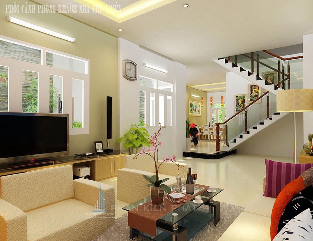 Phối cảnh phòng khách nhà phố 3 tầng diện tích 6x18 nở hậu 7,2m góc nhìn 1