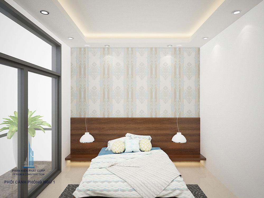 Phối cảnh phòng ngủ 1 biệt thự 3 tầng góc nhìn 2