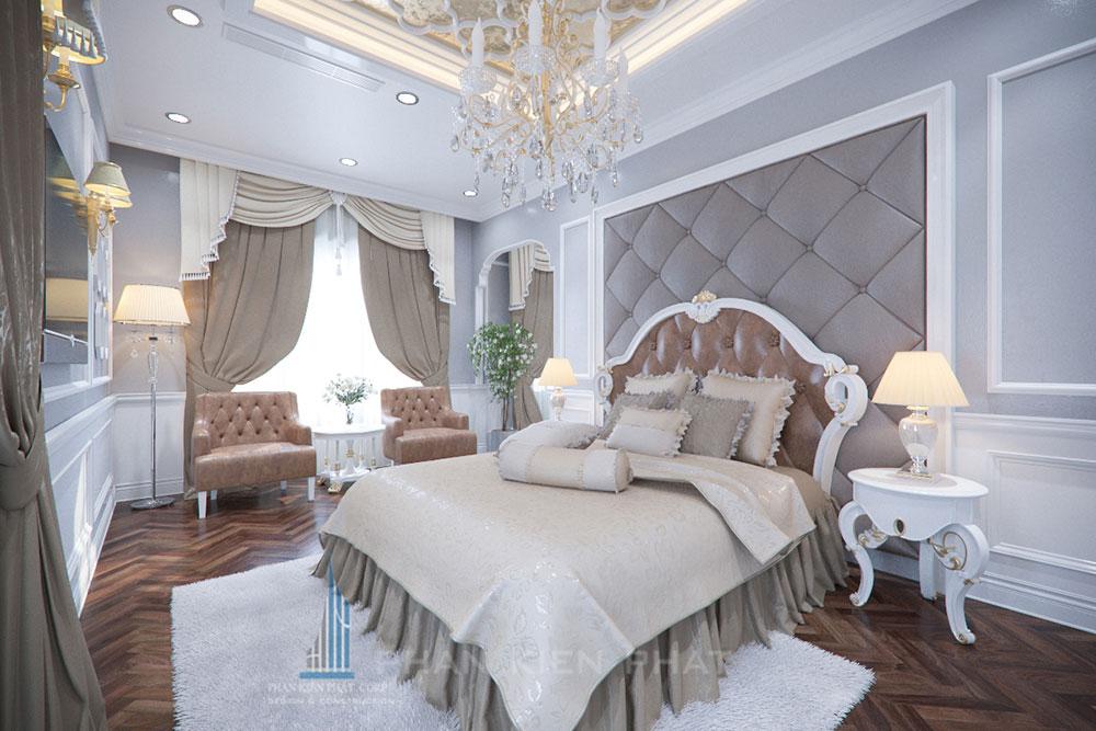 Phối cảnh phòng ngủ 1 biệt thự cổ điển góc nhìn 1