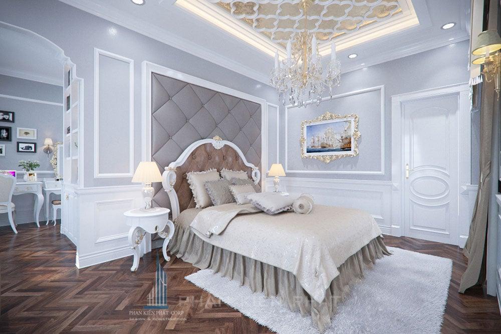 Phối cảnh phòng ngủ 1 biệt thự cổ điển góc nhìn 3