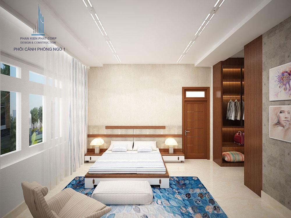 Phối cảnh phòng ngủ 1 biệt thự hiện đại