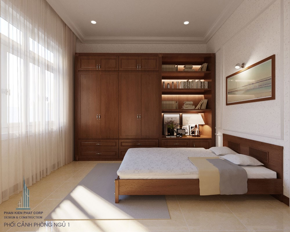 Phối cảnh phòng ngủ 1 của biệt thự 2 tầng bán cổ điển góc view 1
