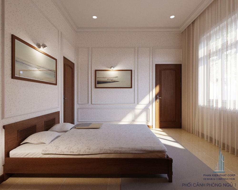 Phối cảnh phòng ngủ 1 của biệt thự 2 tầng bán cổ điển góc view 2