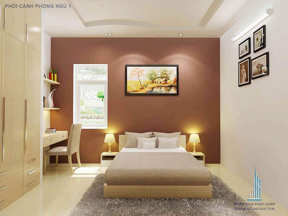 Phối cảnh phòng ngủ 1 góc nhìn 2 nhà phố 2 tầng 6 phòng ngủ