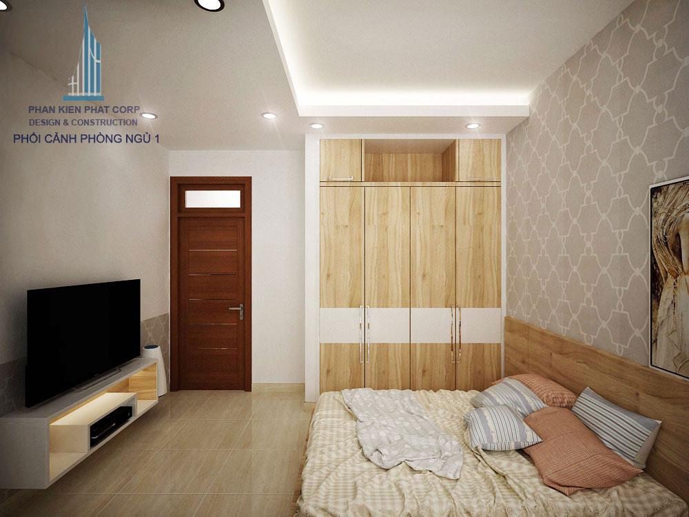 Phối cảnh phòng ngủ 1 nhà phố 3 tầng diện tích 4x12m góc nhìn 1