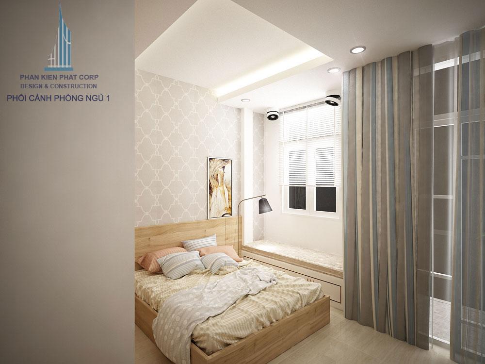 Phối cảnh phòng ngủ 1 nhà phố 3 tầng diện tích 4x12m góc nhìn 3