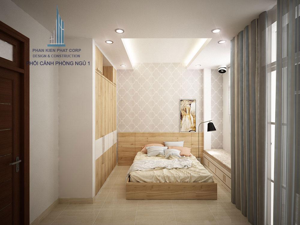 Phối cảnh phòng ngủ 1 nhà phố 3 tầng diện tích 4x12m góc nhìn 4