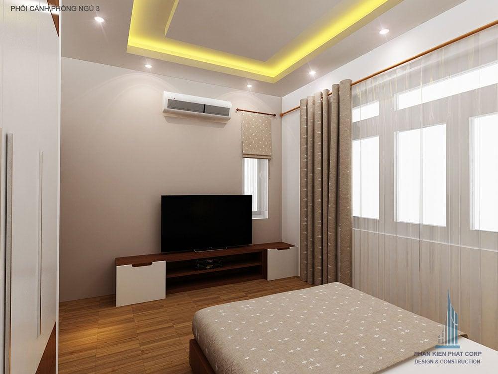 Phối cảnh phòng ngủ 2 biệt thự 2 tầng góc nhìn 2