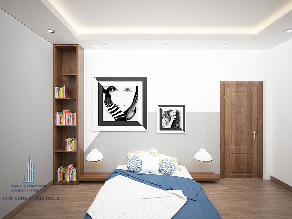 Phối cảnh phòng ngủ 2 biệt thự 3 tầng góc nhìn 1