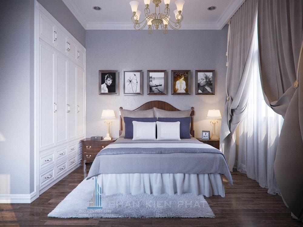 Phối cảnh phòng ngủ 2 biệt thự cổ điển góc nhìn 1