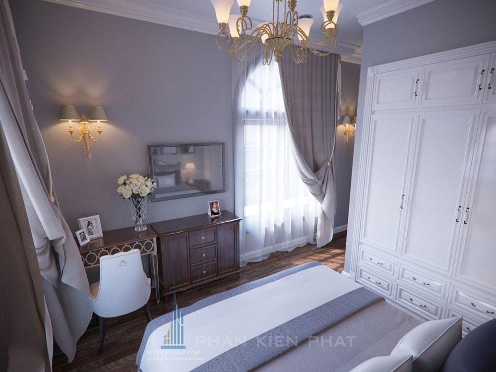 Phối cảnh phòng ngủ 2 biệt thự cổ điển góc nhìn 2