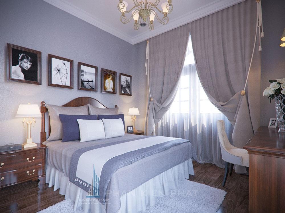 Phối cảnh phòng ngủ 2 biệt thự cổ điển góc nhìn 4