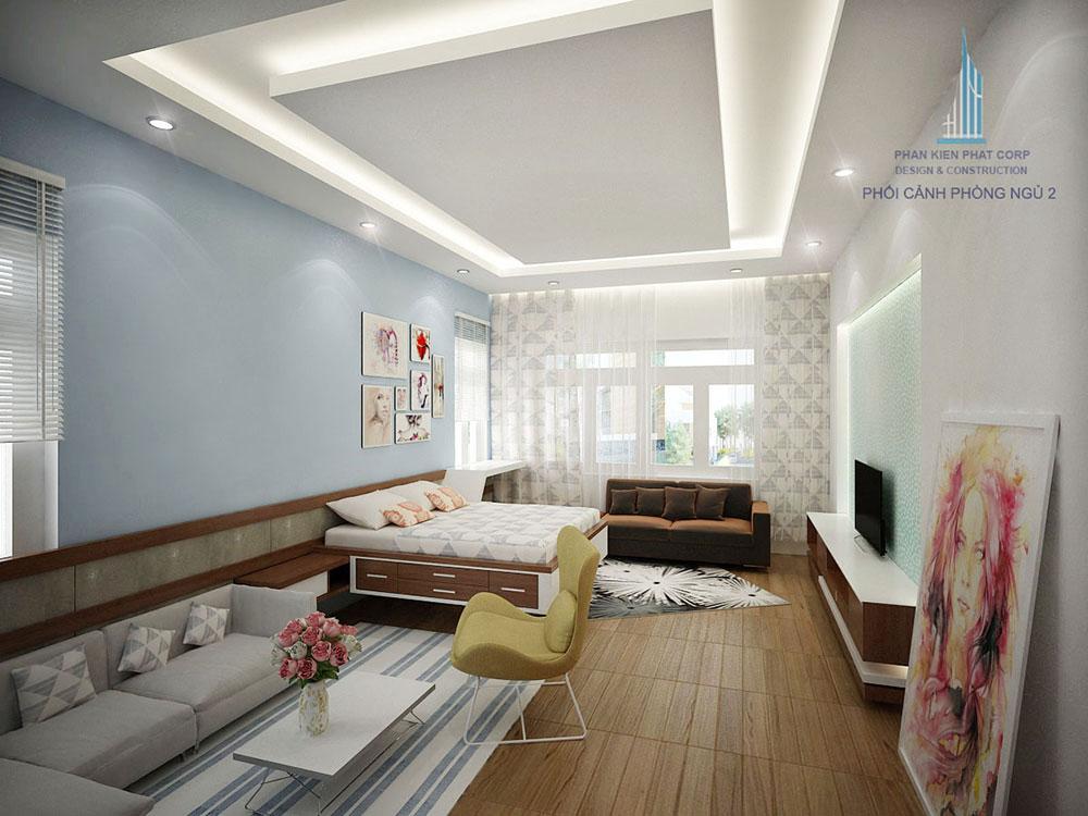 Phối cảnh phòng ngủ 2 biệt thự hiện đại góc nhìn 1