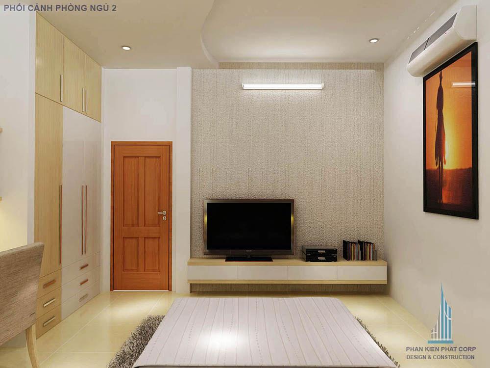 Phối cảnh phòng ngủ 2 góc nhìn 2 nhà phố 2 tầng 6 phòng ngủ