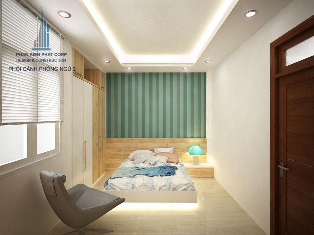 Phối cảnh phòng ngủ 2 nhà phố 3 tầng diện tích 4x12m góc nhìn 2