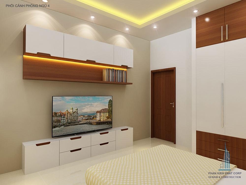 Phối cảnh phòng ngủ 3 biệt thự 2 tầng góc nhìn 1