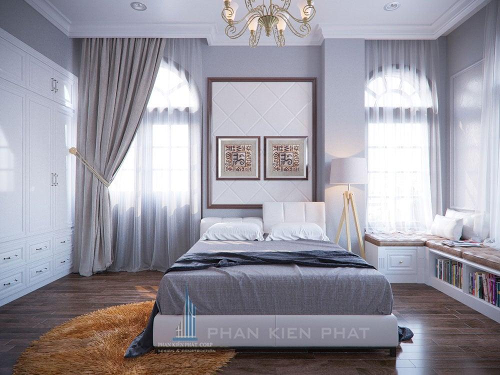 Phối cảnh phòng ngủ 3 biệt thự cổ điển góc nhìn 1