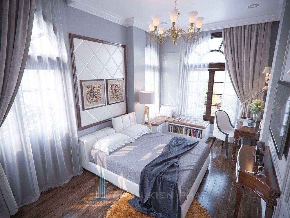 Phối cảnh phòng ngủ 3 biệt thự cổ điển góc nhìn 2