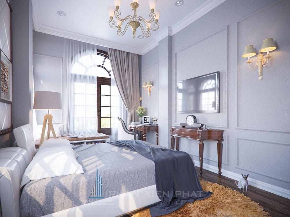 Phối cảnh phòng ngủ 3 biệt thự cổ điển góc nhìn 3