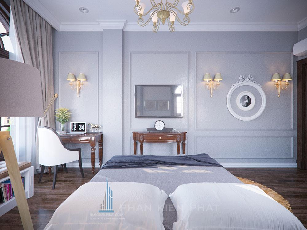 Phối cảnh phòng ngủ 3 biệt thự cổ điển góc nhìn 4