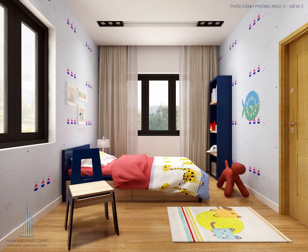 Phối cảnh phòng ngủ 5 góc nhìn 2 nhà phố 2 tầng tại Vĩnh Long