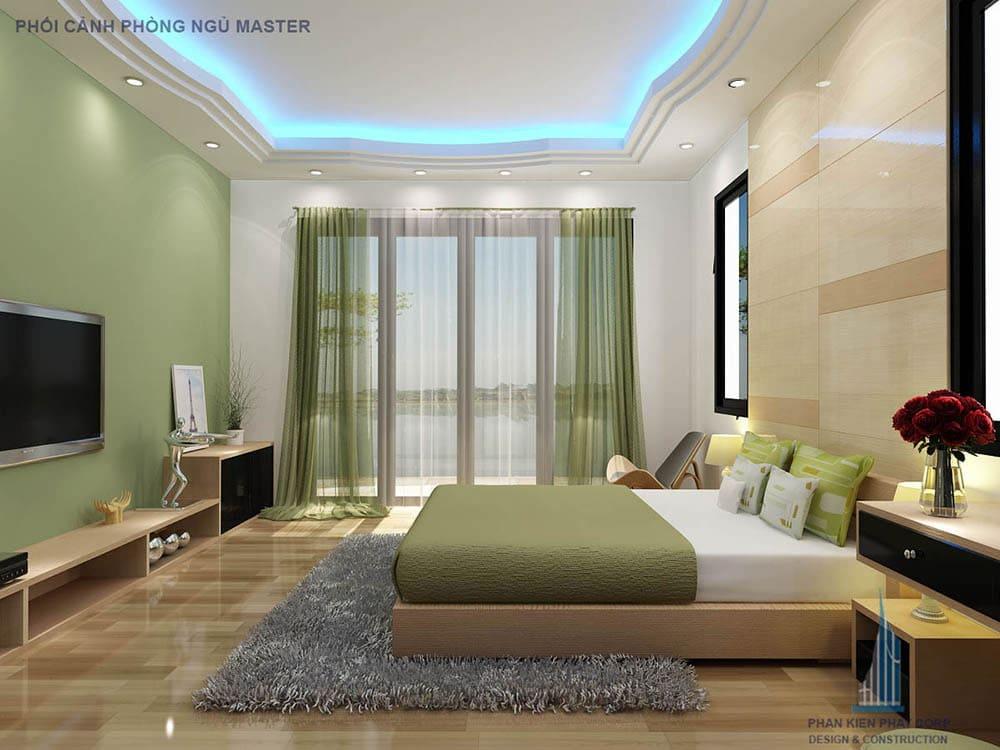 Phối cảnh phòng ngủ master nhà phố 2 tầng góc nhìn 2