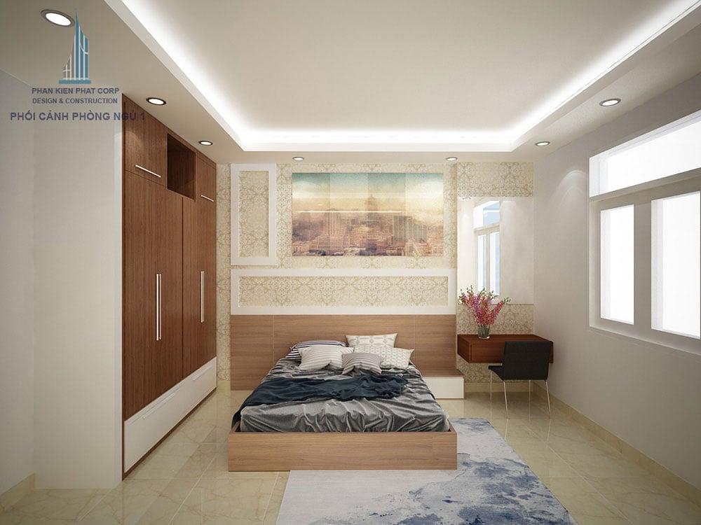 Phối cảnh phòng phòng ngủ 1 biệt thự 4 tầng diện tích 8x16m góc nhìn 2