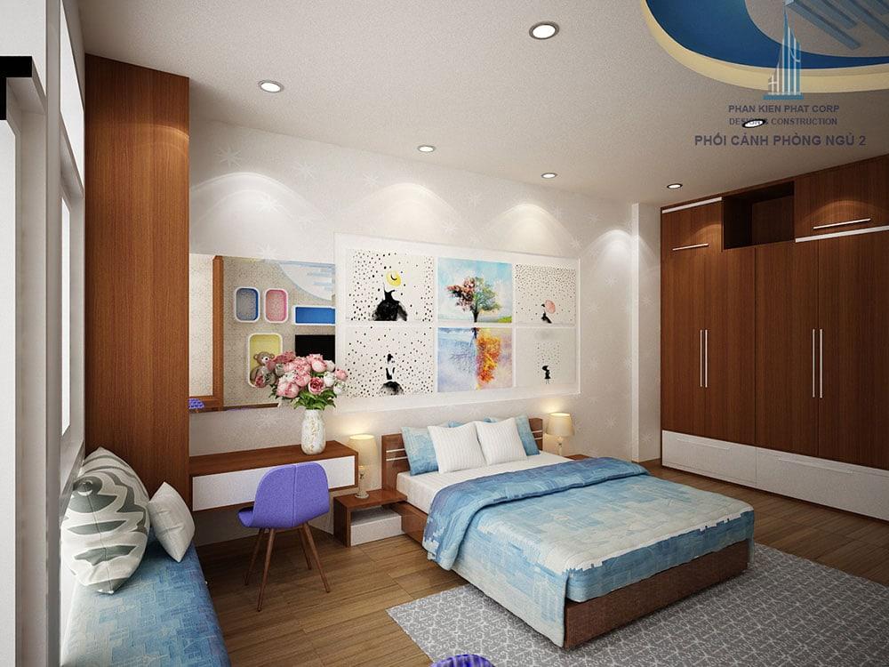 Phối cảnh phòng phòng ngủ 2 biệt thự 4 tầng diện tích 8x16m góc nhìn 2