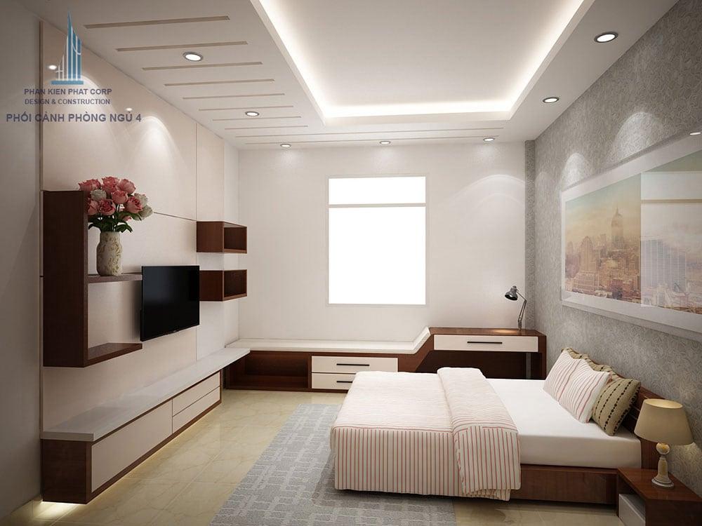Phối cảnh phòng phòng ngủ 3 biệt thự 4 tầng diện tích 8x16m góc nhìn 1