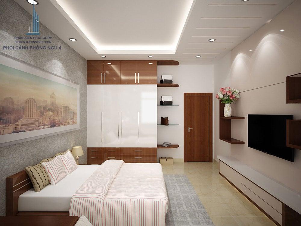 Phối cảnh phòng phòng ngủ 3 biệt thự 4 tầng diện tích 8x16m góc nhìn 2