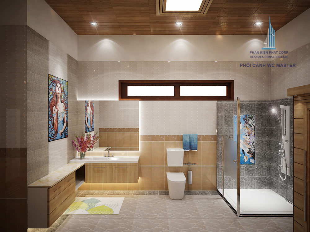 Phối cảnh phòng vệ sinh phòng master góc nhìn 1