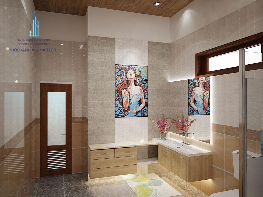 Phối cảnh phòng vệ sinh phòng master góc nhìn 2