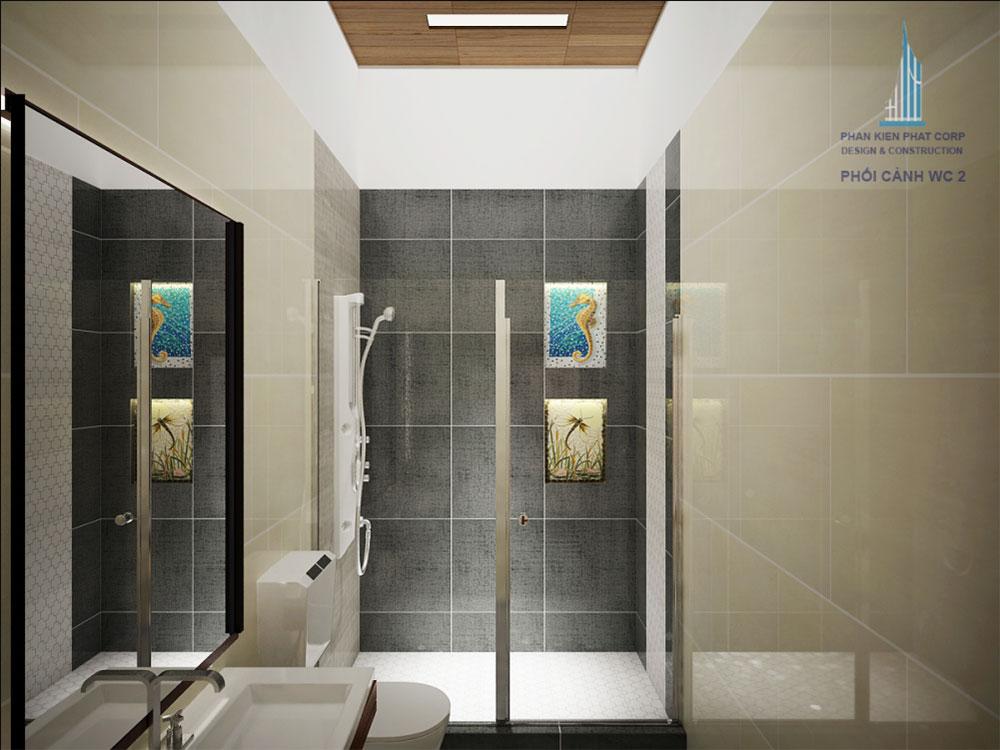 Phối cảnh phòng vệ sinh phòng ngủ 2 góc nhìn 2