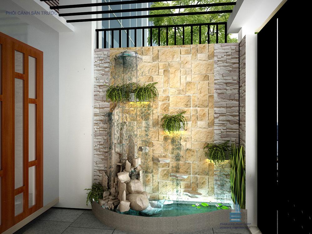Phối cảnh sân trước nhà phố 4 tầng diện tích 4x14,5m tại Mã Lò, Bình Tân.