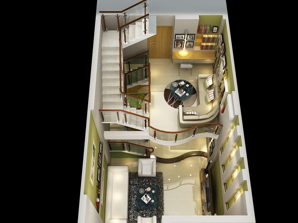 Phối cảnh tổng thể tầng lửng và phòng khách