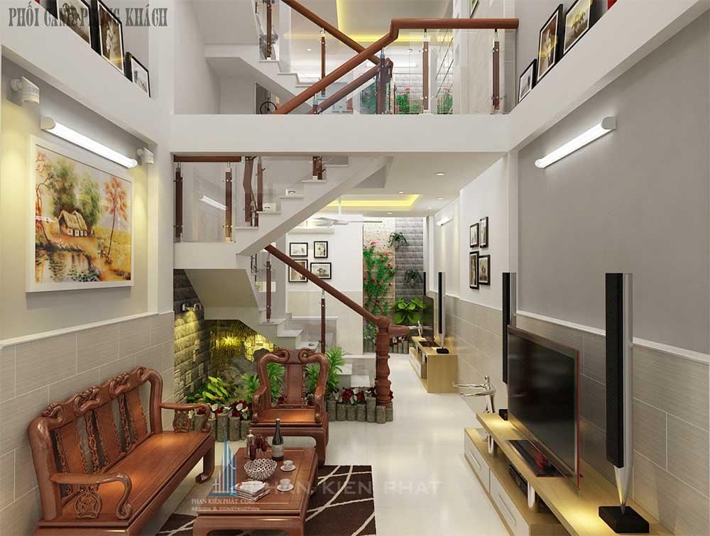 Phòng khách nhà phố 4 tầng diện tích 4x12m tại Bình Tân